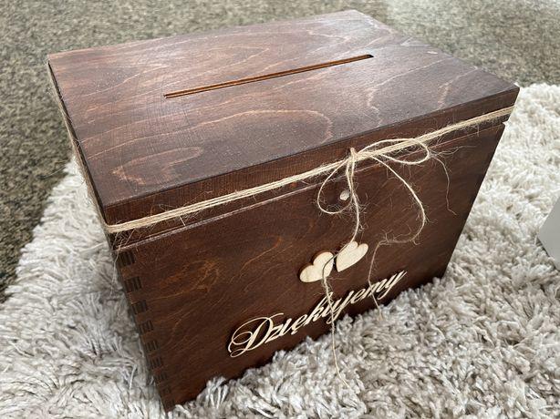 Komplet ślubny skrzynia na koperty i pudełko na obrączki