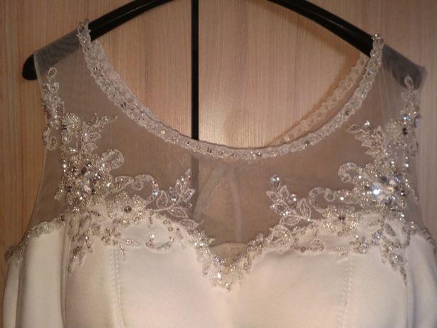 Suknia Ślubna biała Księżniczka poprawiny kryształki 42