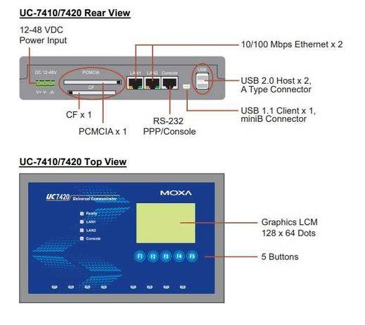 MOXA Встраиваемый компьютер с 8 Serial портами, 2 Ethernet портами