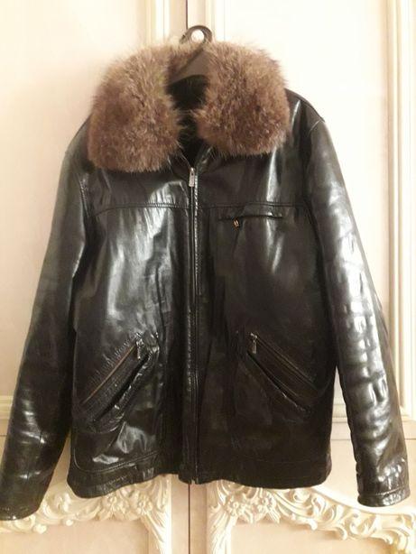Чоловіча шкіряна зимова курточка