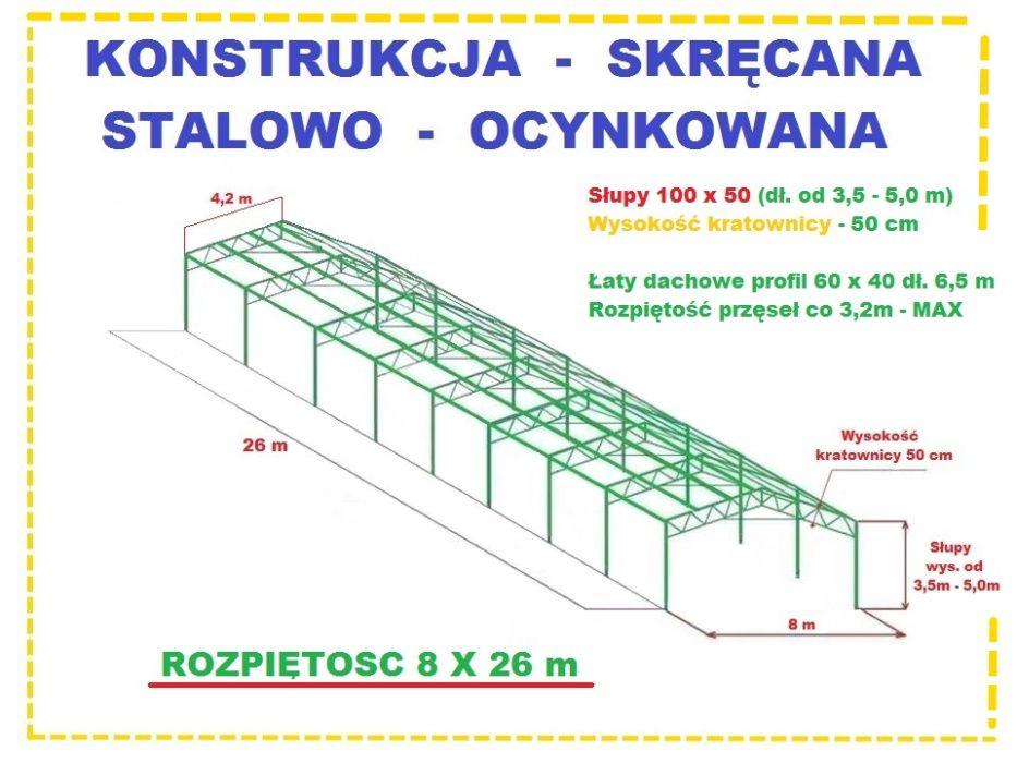Konstrukcja Wiata Garaż 8x26m Hala Magazyn OCYNKOWANA stalowa skręcana