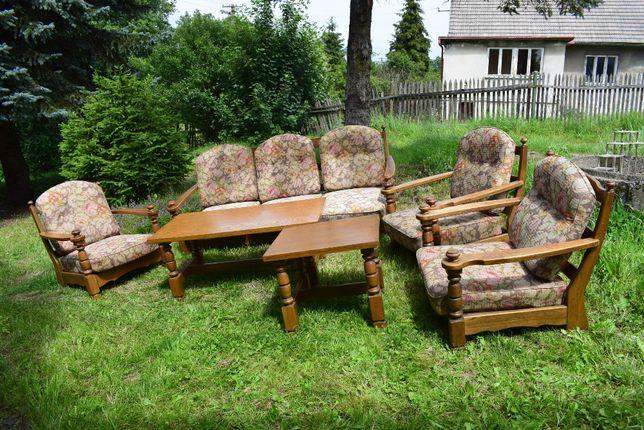 Komplet wypoczynkowy Mieszko, sofa, trzy fotele, ława, stolik, PRL