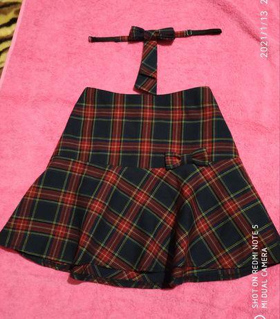 """Школьная юбка с галстуком в клетку """"Сашка"""" в идеальном состоянии"""