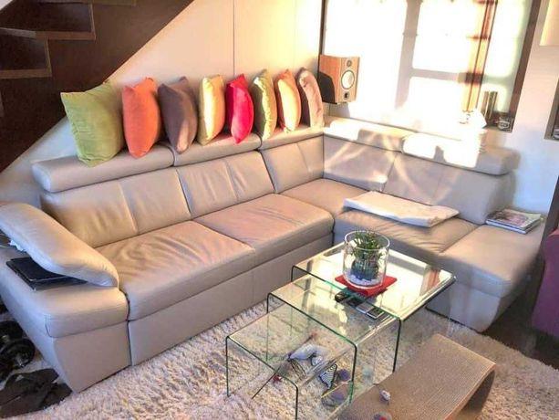 narożnik kanapa z funkcja spania 270x200 ze skory naturalnej.