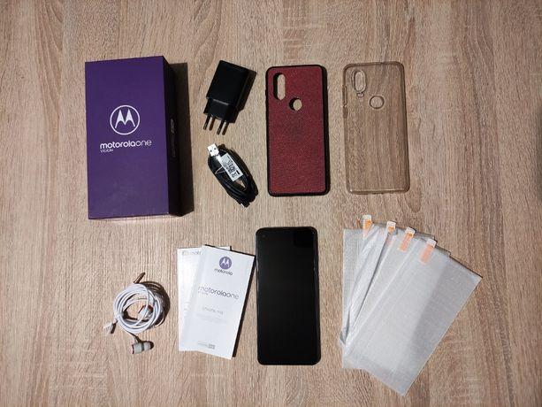 Motorola One Vision 4/128GB DS/Niebieski-stan10/10+2xEtui+4szkło