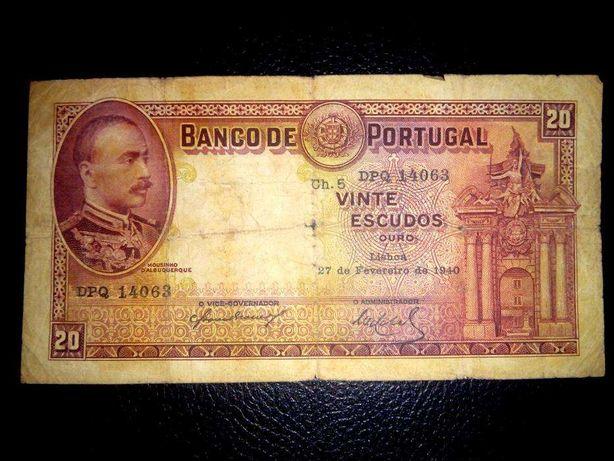 Nota 20 Escudos 1940 Portugal