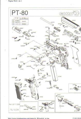 Pistola de pressão de ar para tiro ao alvo