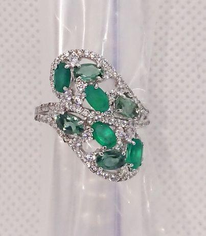 серебренное Кольцо каблучка зелёный Агат Фианит серебро 9 2 5