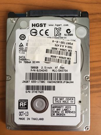 Жорсткий диск Apple/Hitachi SATA 500Gb 7mm 5400rpm 16mb
