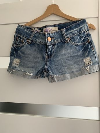 Spodenki krótkie szorty jeans 36 s poprzebierane dziury