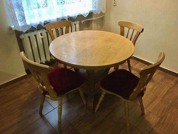 Stół dębowy okrągły antyk lata 20-30te XX wieku, 4 krzesla w komplecie