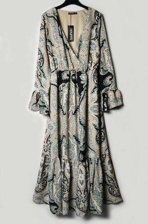 Роскошное длинное платье в принт на запах