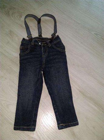 spodnie jeansowe z szelkami F&F 74, 80 6-12 msc stan idealny
