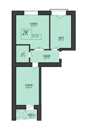 Продам 2 кімнатну квартиру Ціна-23,700 $ р-н Бам