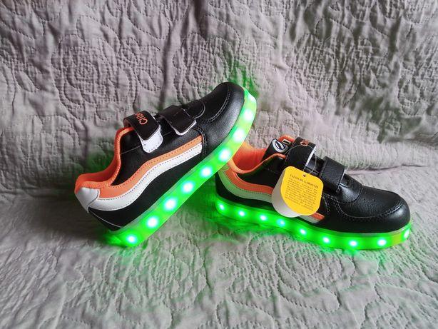 Кроссовки Clibee с подсветкой, LED, р-р 32,33,34,35,36,37