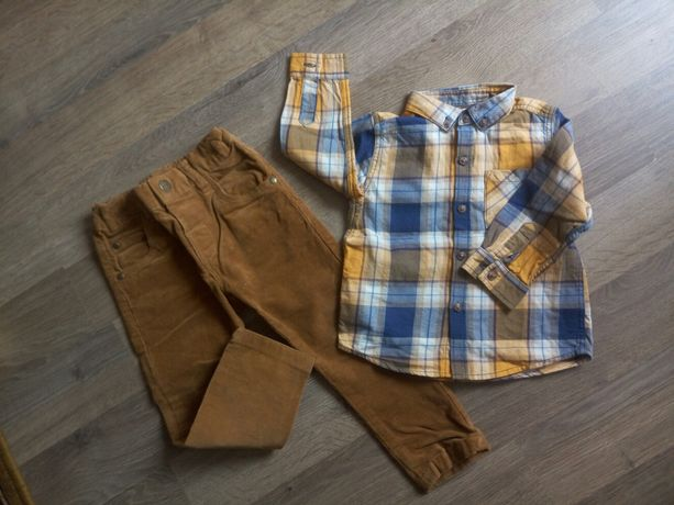 Вельветовые брюки+рубашка next, джинсы