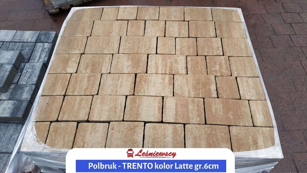 Kostka brukowa na podjazd Polbruk-TRENTO kolor Latte piaskowy gr.6cm