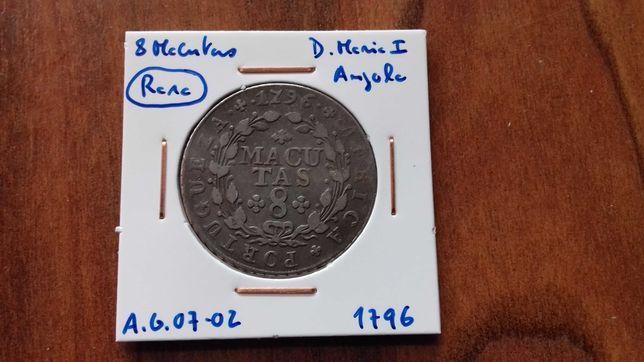 Moeda 8 Macutas 1796 D. Maria I Angola  (Rara)