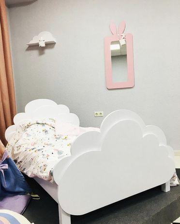 Кровать детская Облачко 160*80, 190*90, дитяче ліжко для дівчинки біле