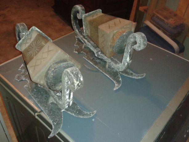 2 Apliques Em Ferro Forjado Com Vidros Lapidados