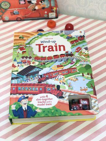 Wind-up Train Usborne ,игрушка+книга+пазл