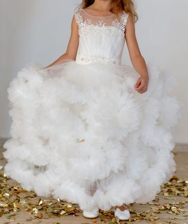 Выпускное платье нарядное белое праздничное утренник облако шикарное