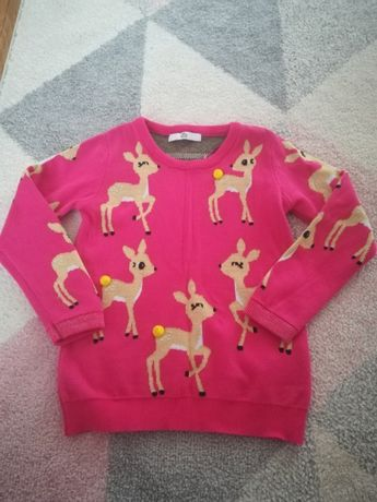 Sweterek sarenka m&s r. 116 różowy piękny święta