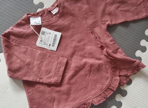 Koszulka bluzka Zara 74 Nowa różowa brudny róż