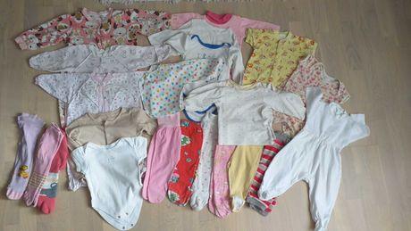 Набор одежды для новорожденной девочки пакет одягу ползунки боди слипы