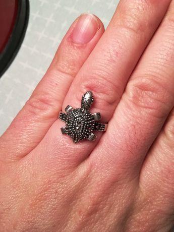 Pierścionek srebro żółw