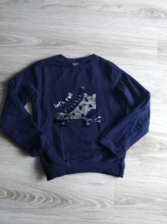 Granatowa bluza dla dziewczynki r. 134 zmieniane cekiny
