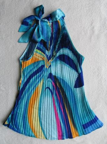 Niebiesko-turkusowa satynowa bluzka