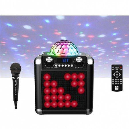 Mini wieża,Głośnik iDance Bluetooth, LED, pilot RÓŻOWY AUX karaoke