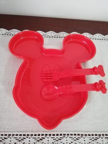 Prato Mickey + Talheres Tupperware