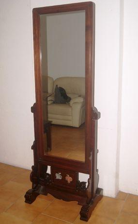 Espelho vertical de quarto em madeira exótica, antigo