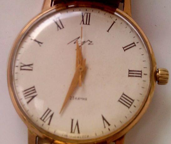 Наручные часы Луч СССР тонкие позолота