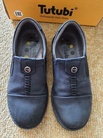 Кожаные туфли, темно-синие, 29р.-18,5см.
