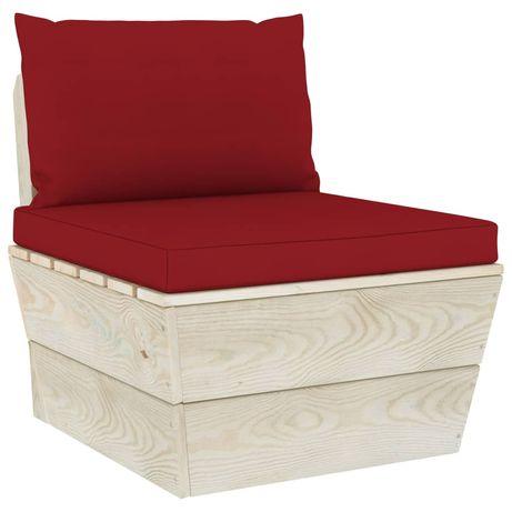 vidaXL Almofadões para sofá de paletes 2 pcs tecido vermelho tinto 315061