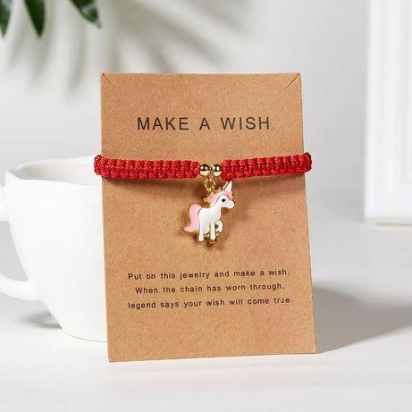 Браслет счастливая красная нить с единорогом, новый, на подарок