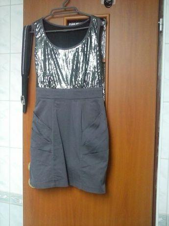 sukienka xs/s cekiny szara