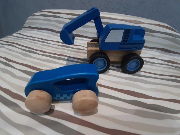 Zabawki samochód i traktor drewniane