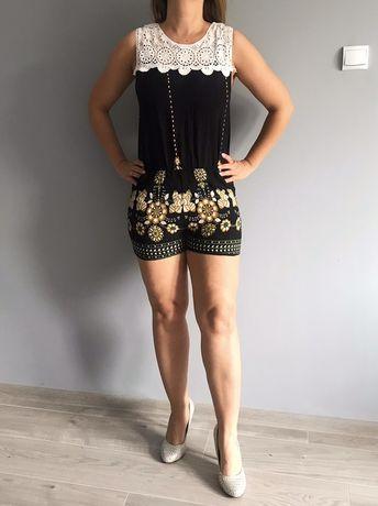 Spodnie kombinezon szorty damskie Złote wzory słowiańskie koronki