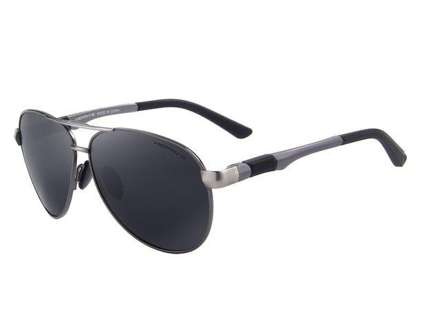 Óculos de Sol Polarizados HD Anti UV, cinza/preto 52mm