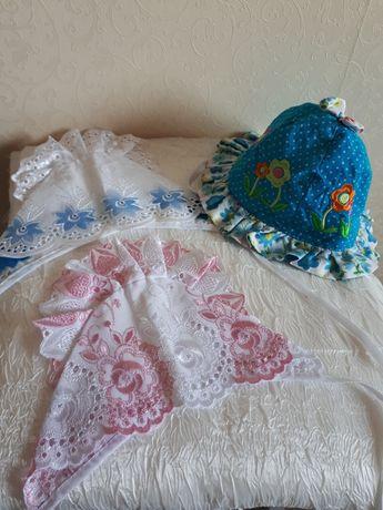 Чепчик для новорожденных, шапочки, панамки, чепчики. Комплект, набор.