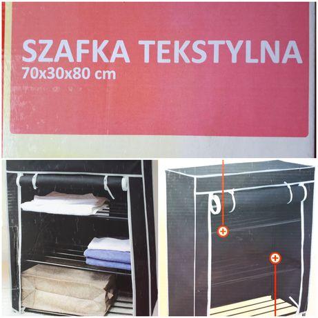 Szafka szafa tekstylna wisząca 70x30x80 nowa 3 półki lekka suwak czarn