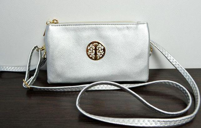 Клатч сумка серебро с длинным ремешком