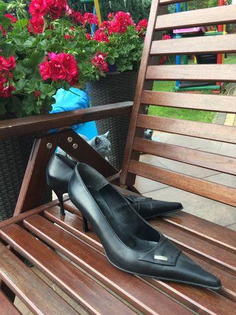 Czarne szpilki buty skórzane rozmiar 40 wkladka 26 cm obcas 8 cm
