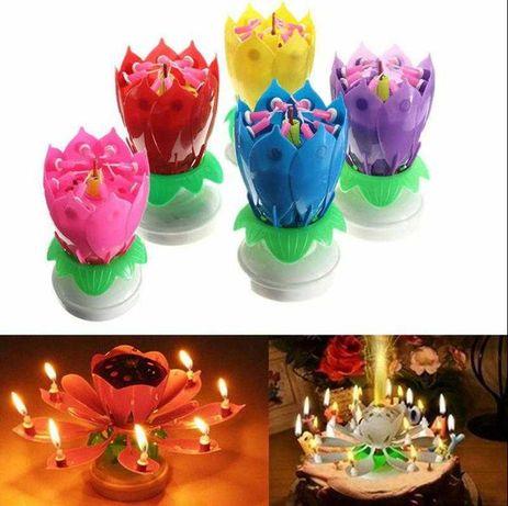 Свеча в торт музыкальная тюльпан цветок горит, открываться, играет