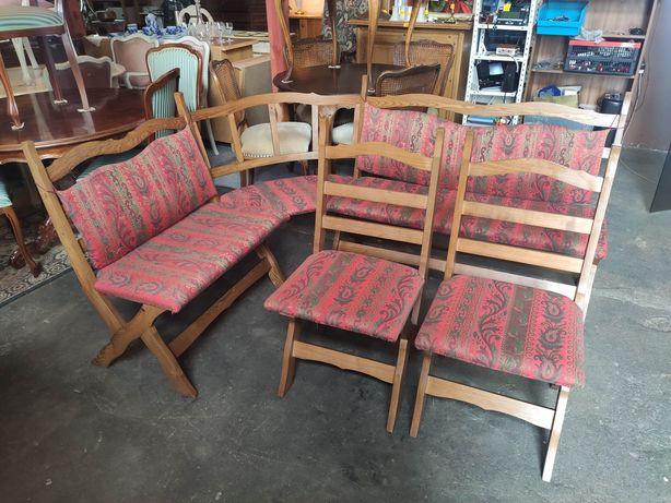 Dębowy narożnik kuchenny + 2 krzesła