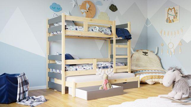 Trzyosobowe łóżko piętrowe TOSIA wysuwane dolne spanie Materace Gratis